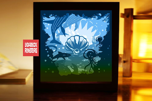 #214  Beyond the Sea ,Papercut lightbox 3D Shadow box Template SVG