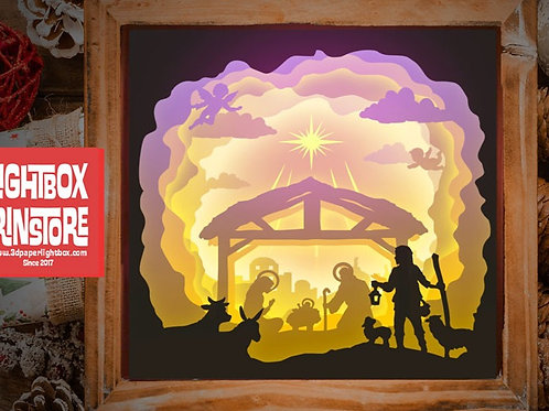 #1 Merry Christmas - Jesus svg, 3D Shadow box Template SVG files
