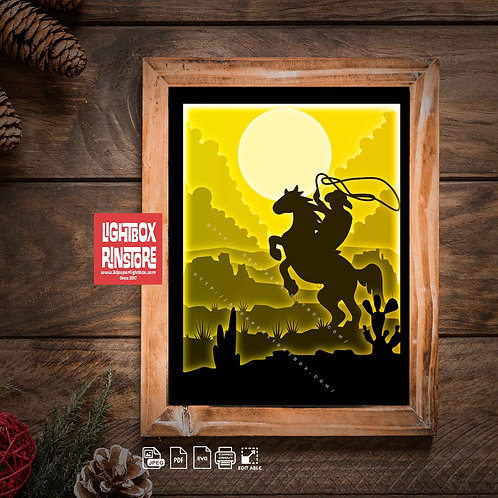 BOGO #168 Cowboy horseman svg, 3D Shadow box Template SVG files