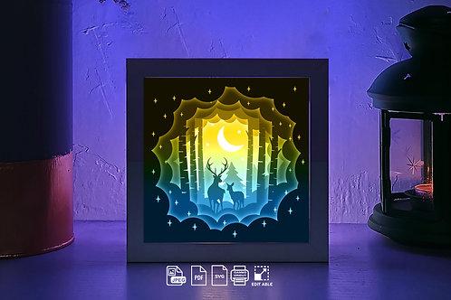 #216 Deer Spirit 3D paper lightbox template Shadow box Template SVG files