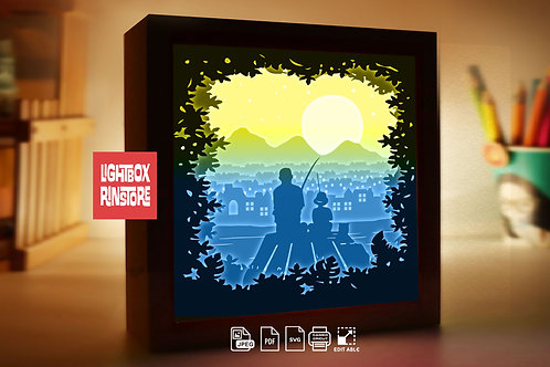 #229Fishing with Happy Father's Day Adventure with dad.3d paper lightbox templat