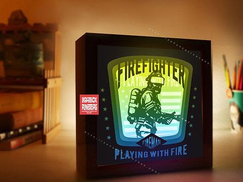 BOGO #174 Fireman  Firefighter Paper cut Lightbox 3D Shadow box Template SVG