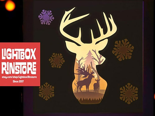 BOGO #23 Snow Deer Paper Lightbox Template svg, 3D Shadow box Template SVG files