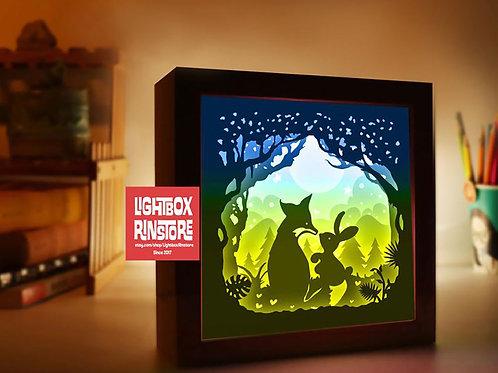 BOGO #121 Fox love Rabbit Paper Lightbox Template SVG, 3D Shadow box Template
