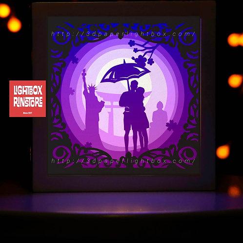 BOGO #183  Love you  -Paper Lightbox Templates SVG 3d Lightbox