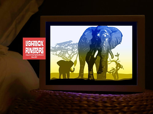 BOGO #113 Save Elephant, Paper Lightbox Template SVG-  3D Shadow box Template