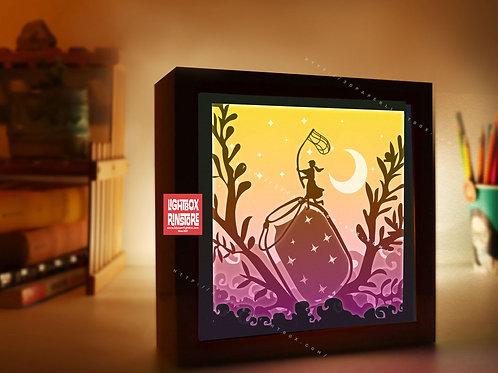 BOGO #186 Catch the stars ,Papercut lightbox 3D Shadow box Template SVG