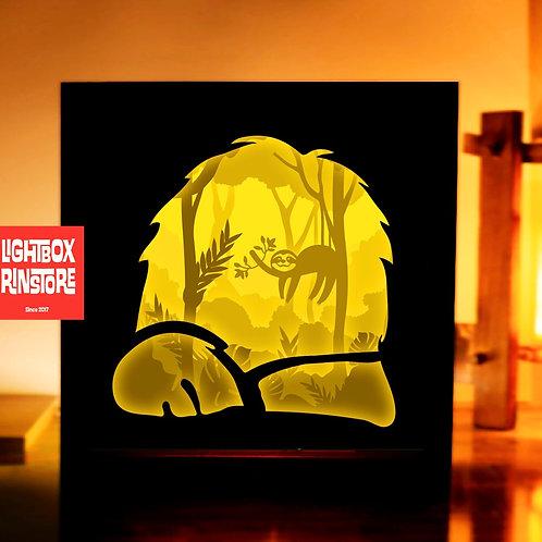 BOGO #159 Cute Sloth in Jungle svg, 3D  Paper cut lightbox Shadow box
