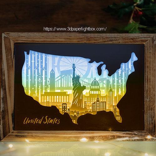 BOGO #151 United States,Papercut lightbox 3D Shadow box Template SVG fi