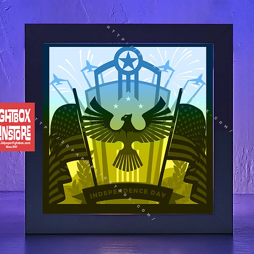 BOGO #188 USA Independence Day ,Papercut lightbox 3D Shadow box Template