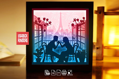 #232 Love in French,Papercut lightbox 3D Shadow box Template SVG file