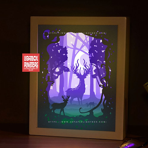 BOGO #175 Deer Spirit ,Papercut lightbox 3D Shadow box Template SVG