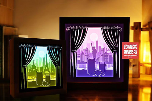BOGO #124 Love of cats in two cities -Paper Lighbox Templates 3D Paper Cutting