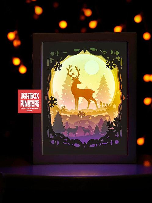 #18 Deer Spirit, 3D Shadow box Template SVG files