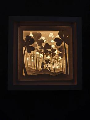 BOGO #60 Lucky boy find clover(Resizable) Christmas svg, 3D Shadow box Template SVG files 3D Paper Cutting Light Box SVG Template Cricut