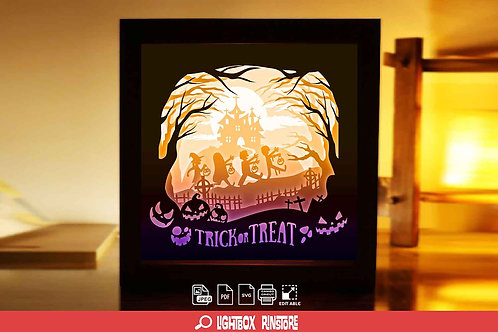 #199 Happy Halloween  svg, 3D Shadow box Template SVG files