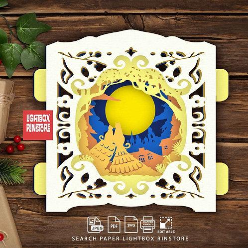 #08 Moon Cats ,Papercut pop up card 3D pop up card Template