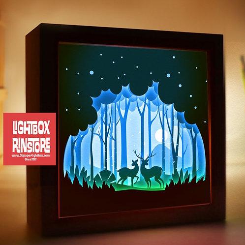 BOGO #150 Deer Spirit ,Papercut lightbox 3D Shadow box Template SVG fi