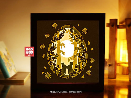 BOGO #155 Rabbit Bunny Easter ,Papercut lightbox 3D Shadow box Template SVG