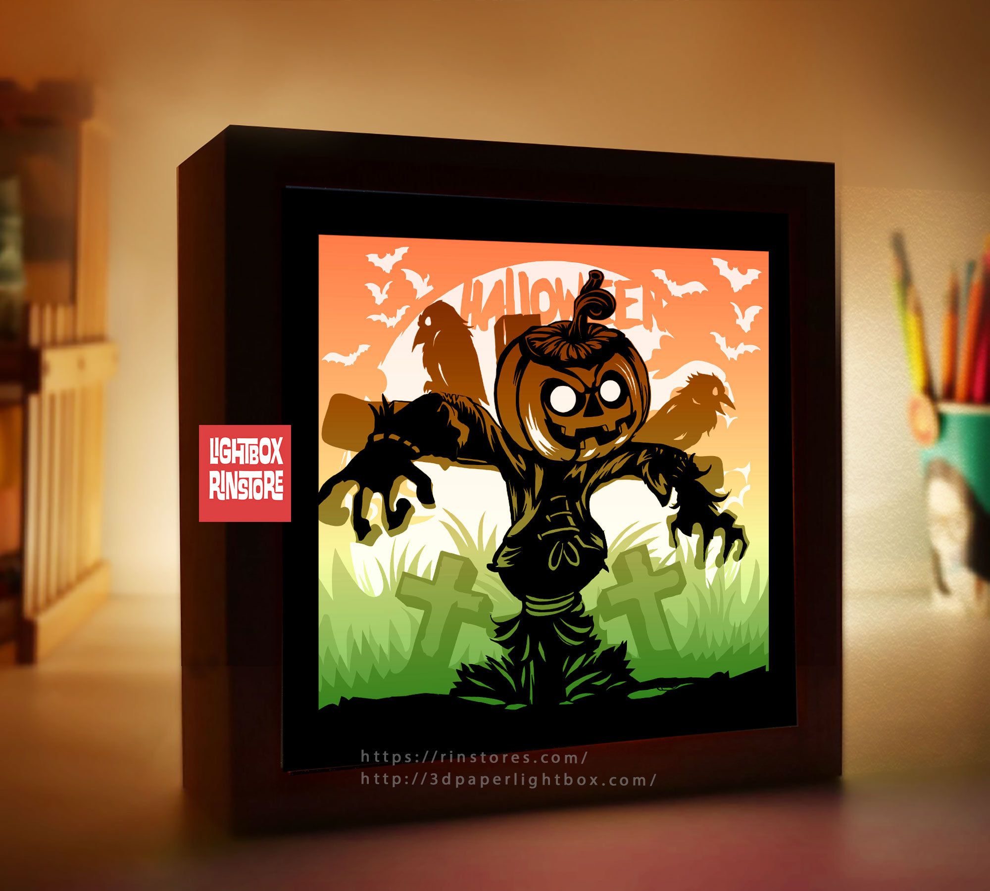 Bogo 191 Happy Halloween Svg 3d Shadow Box Template Svg Files 3d Papercut Lightbox