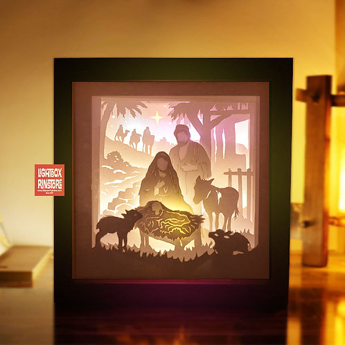 199 Jesus born Merry Christmas , 3D paper cut lightbox template svg