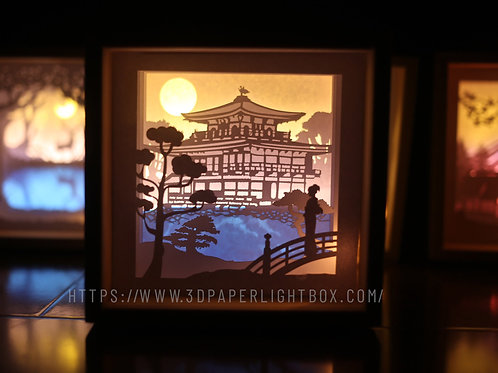 Kinkakuji- Japan- Paper Cut Lightbox Finished Product . Free ship USA