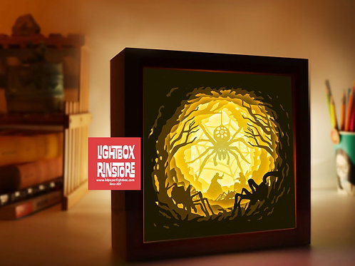BOGO #143 The Witch vs Spider King Paper Lightbox Template SVG, 3D Shadow box