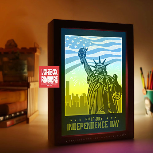 BOGO #187 USA Independence Day ,Papercut lightbox 3D Shadow box Template