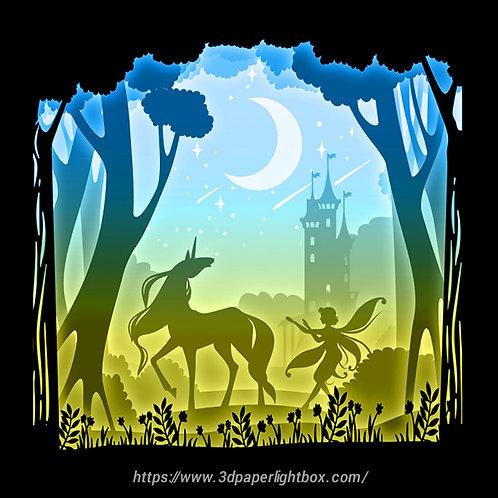 BOGO #146 I love Unicorn,Papercut lightbox 3D Shadow box Template SVG files