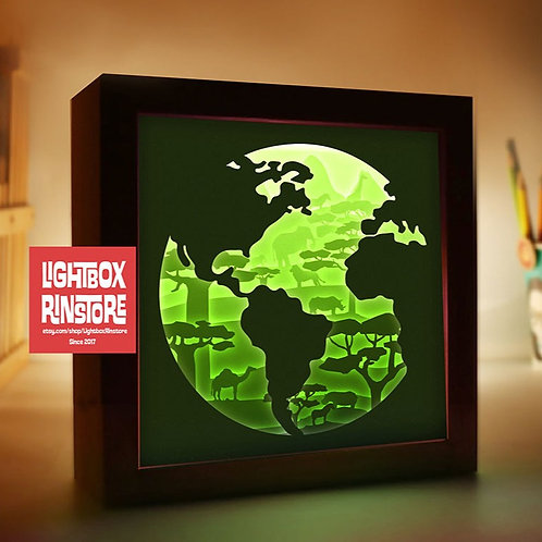 BOGO #119 Save Earth Paper Lightbox Template SVG, 3D Shadow box Template
