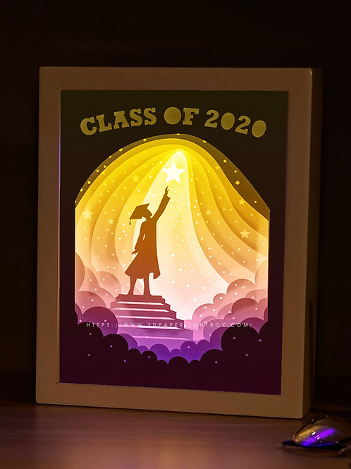 BOGO #166 Graduation ceremony Gift ,Papercut lightbox 3D Shadow box Template