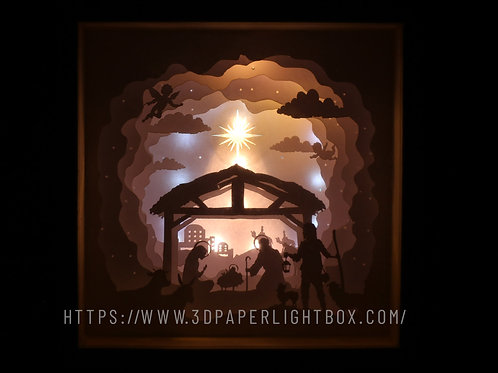 Merry Christmas - Jesu Paper Cut Lightbox Finished Product . Free ship to USA