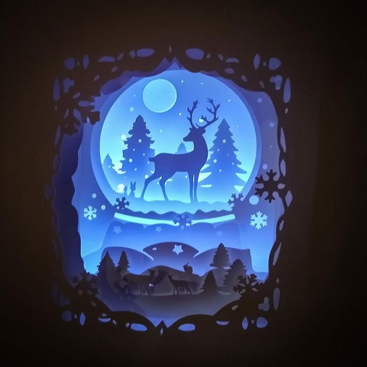 BOGO #18 Deer Spirit (Resizable) Christmas svg, 3D Shadow box Template SVG files -3D Paper Cutting Light Box SVG Template files Cricut