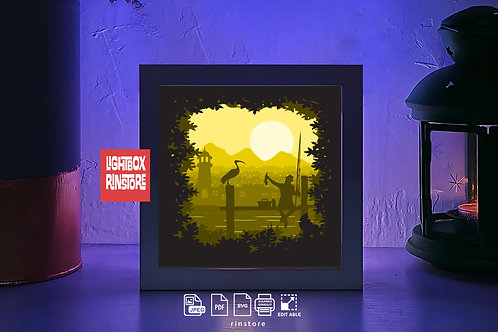 226 Fishing 3d paper lightbox svg, Shadow box Template SVG files