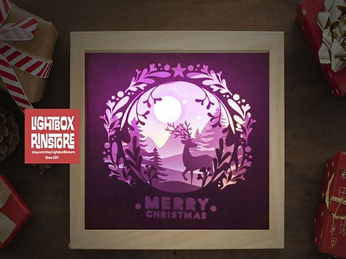 Free ship USA-Deer Spirit X'mas- Paper Cut Lightbox Finished Product