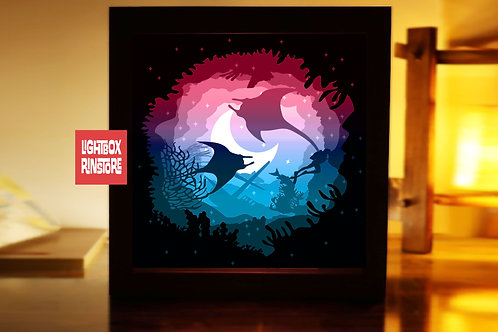 #212  Beyond the Sea ,Papercut lightbox 3D Shadow box Template SVG