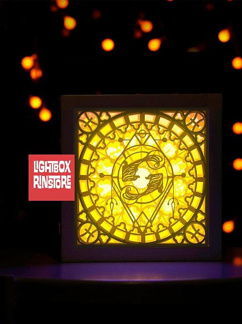 #89 PISCES Zodiac Paper Lightbox Template SVG, 3D Shadow box Template