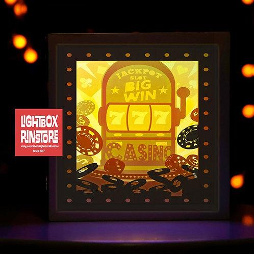 BOGO #105 Slot machine casino svg, 3D Shadow box Template S