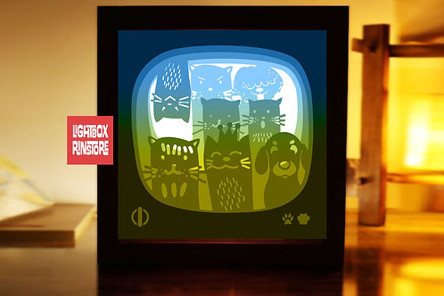 #211 Animal television ,Papercut lightbox 3D Shadow box Template SVG