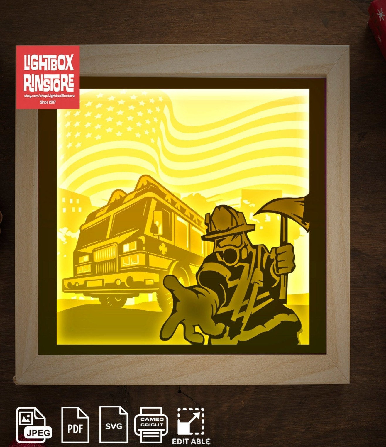 Bogo 102 Fire Truck 3d Shadow Box Template Svg 3d Papercut Lightbox