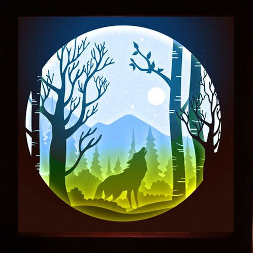 BOGO #148 Wolf ,Papercut lightbox 3D Shadow box Template SVG fi