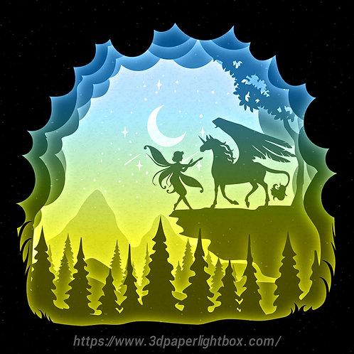 BOGO #147 I love Unicorn,Papercut lightbox 3D Shadow box Template SVG fi
