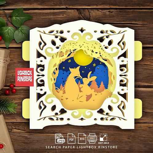 #121 Fox love rabbit ,Papercut pop up card 3D pop up card Template