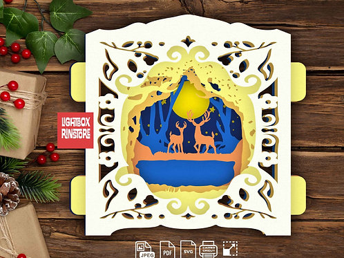 #17 Deer Spirit ,Papercut pop up card 3D pop up card Template