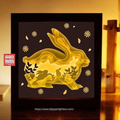 BOGO #154 Bunny Rabbit  ,Papercut lightbox 3D Shadow box Template SVG