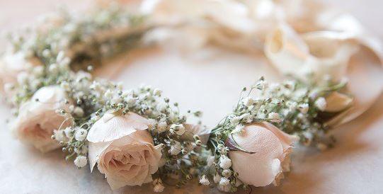 crown of peach spray roses