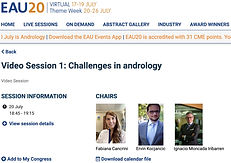 #EAU20 - Video Session 1 - Challenges in andrology