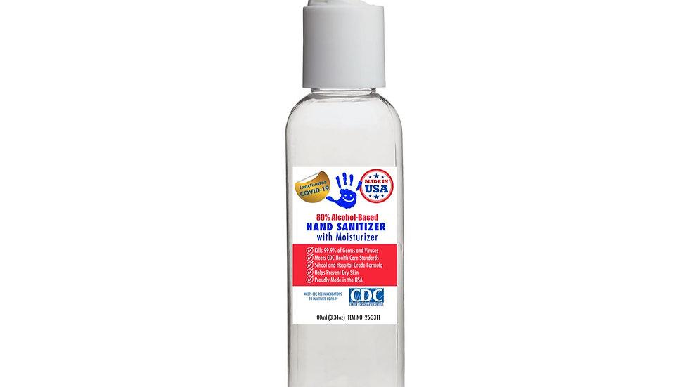 100ml (3.34oz) 80% Alcohol-Based Liquid Sanitizer with Flip Cap