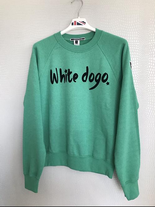 Felpa  adulto White dogo verde