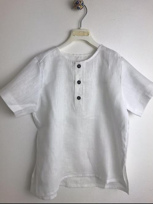 Camicia di lino bianco